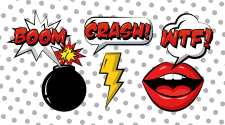 pop art comic set mouth bomb and ray vintage style vector illustration