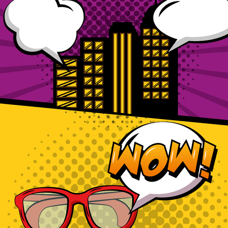 pop art comic banners retro city an glasses vector illustration 向量圖像