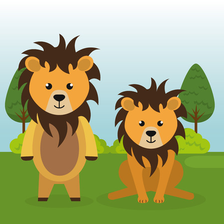 cute lions couple in the field landscape characters vector illustration design