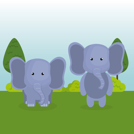 cute elephants couple in the field landscape character vector illustration design Foto de archivo - 100971840