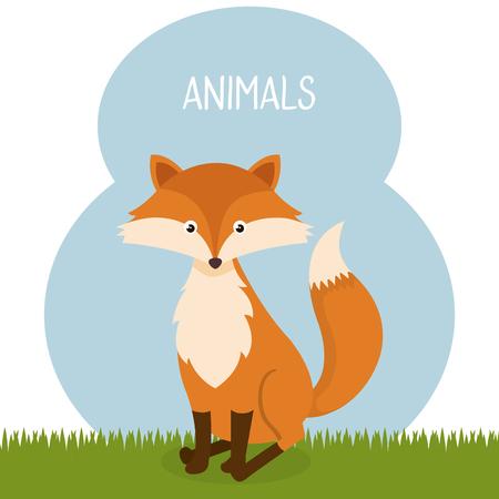 Cute fox in the field landscape character vector illustration design. Stock Illustratie