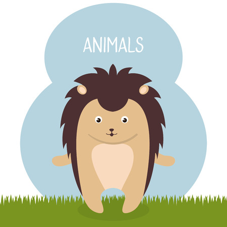 Cute porcupine in the field landscape character vector illustration design.