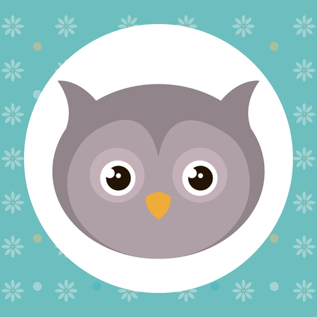 Cute owl head tender character vector illustration design.