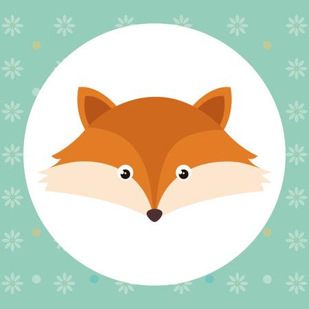 Cute fox head tender character vector illustration design