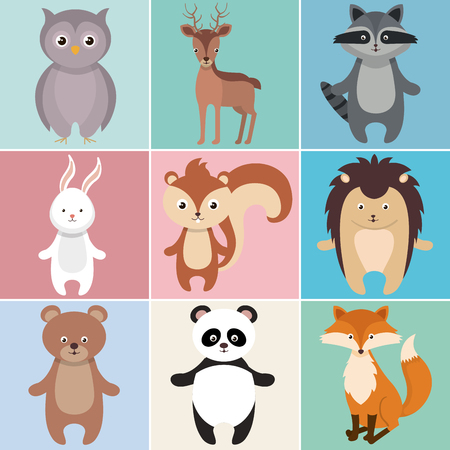 Cute group of animals heads characters vector illustration design. Foto de archivo - 100965883