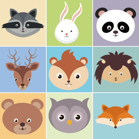 Cute group of animals heads characters vector illustration design. Foto de archivo - 100965884