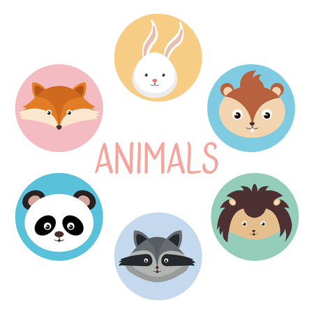 Cute group of animals heads characters vector illustration design