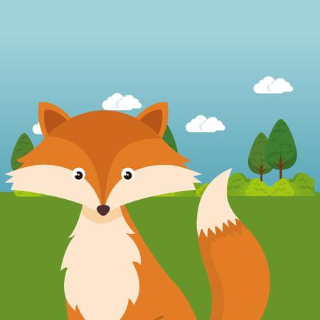 Cute fox in the field landscape character vector illustration design 일러스트