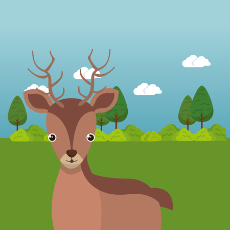 Cute reindeer in the field landscape character vector illustration design Foto de archivo - 100965892