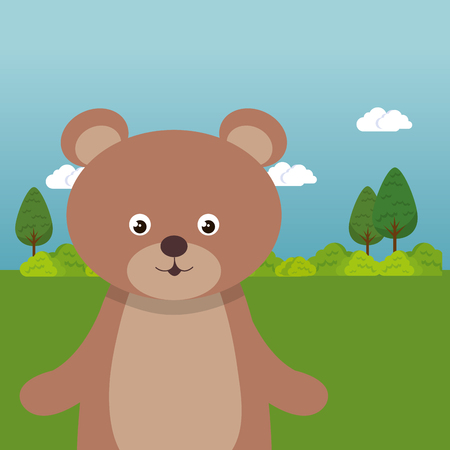 Cute bear in the field landscape character vector illustration design Foto de archivo - 100965891