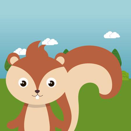 Cute chipmunk in field landscape character vector illustration design Foto de archivo - 100965893