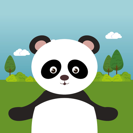Cute panda bear in the field landscape character vector illustration design Foto de archivo - 100965895