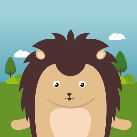 Cute porcupine in the field landscape character vector illustration design Foto de archivo - 100965896