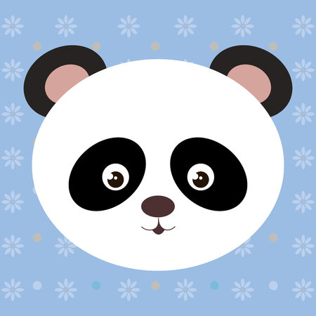 Cute panda bear head tender character vector illustration design.