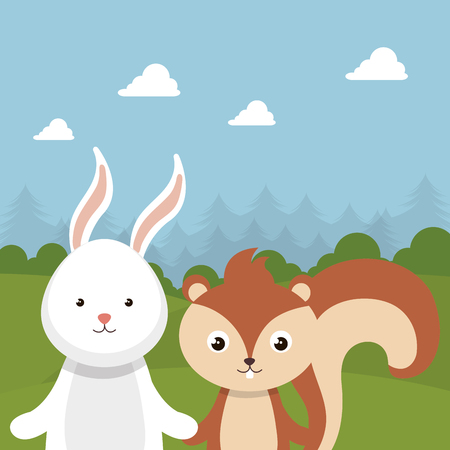 Cute rabbit and chipmunk in the field landscape character vector illustration