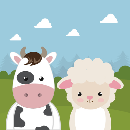 Cute sheep and cow in the field landscape characters vector illustration design 일러스트