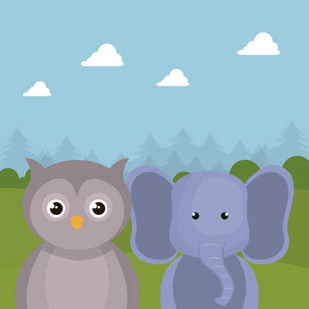 Cute elephant and owl in the field landscape character vector illustration design