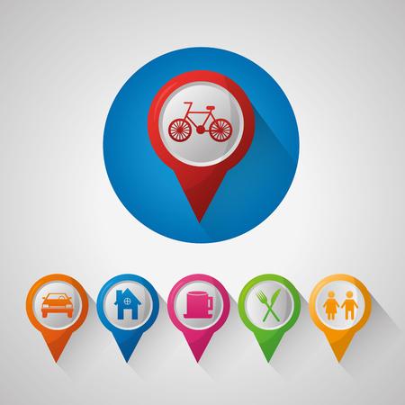 gps navigation application  pin maps car restaurant places ubications vector illustration
