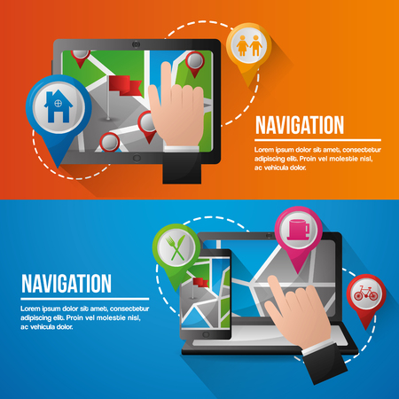 gps navigation application banners computers hands pointed screen location places vector illustration Stock Illustratie