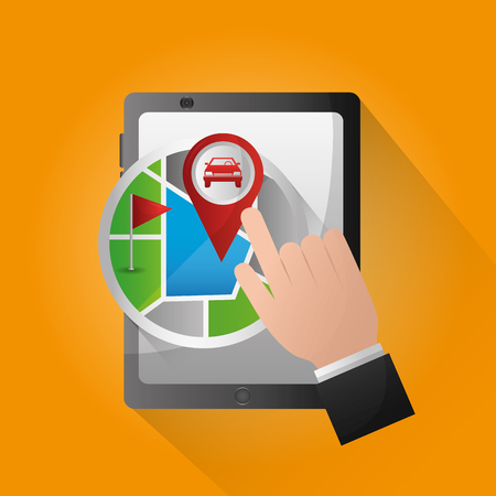 gps navigation application orange background hand pointed screen sticker location car ubication vector illustration