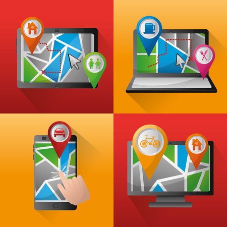 gps navigation application  banners technology locations places pin maps vector illustration