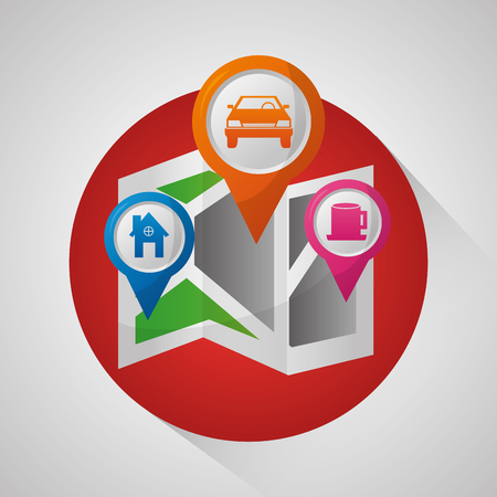gps navigation application sticker  pin maps places locations vector illustration Çizim