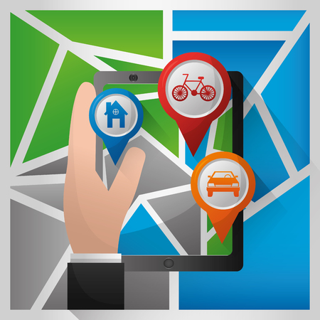 gps navigation application hand holding technology pin maps bicycle car places vector illustration
