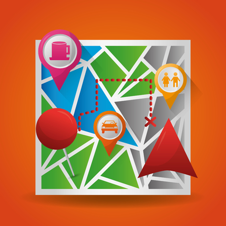 gps navigation application  maps locations destination places vector illustration