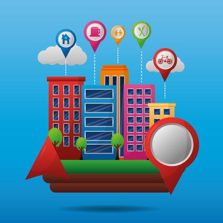 gps navigation application  buildings red location food place stay car bicycle vector illustration Ilustração
