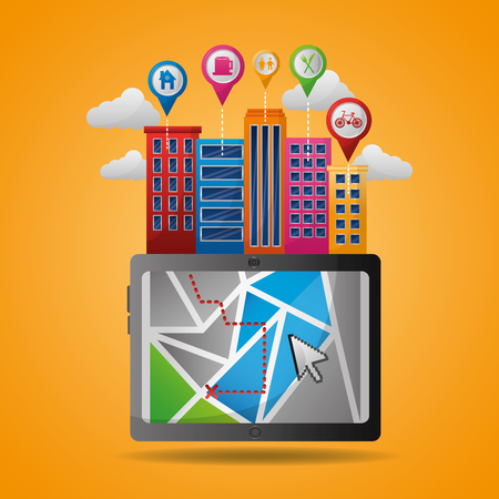 gps navigation application high buildings arrival point locations places ubication vector illustration