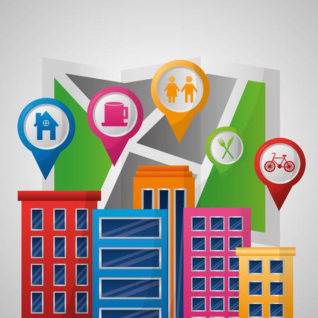gps navigation application many buildings  places ubications destination vector illustration Stock Illustratie