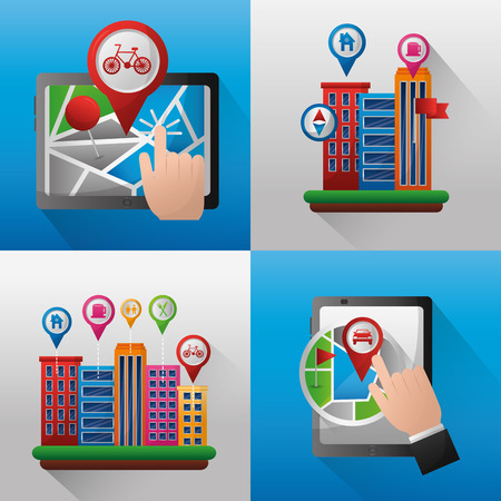 gps navigation application  banners location places buildings place stay vector illustration