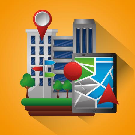 gps navigation application buildings technology app pin maps vector illustration