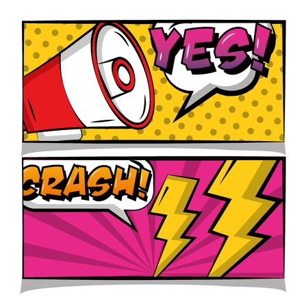 pop art comic banner loudspeaker chrash yes text retro vector illustration Illustration