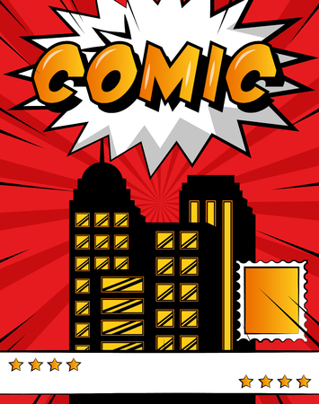 pop art comic book city vintage style vector illustration