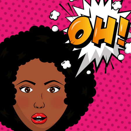 pop art comic beautiful woman oh expression dots background vector illustration Illustration
