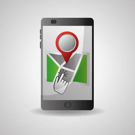 gps navigation application technology advice mouse clicking arrival point vector illustration Stock Illustratie