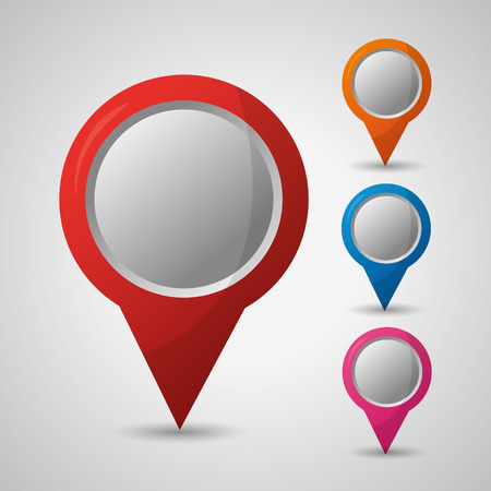 gps navigation many colored destination direction location vector illustration