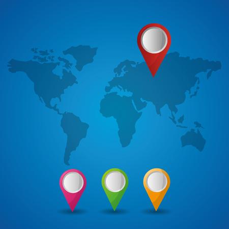 gps navigation blue map background pointers location direction vector illustration