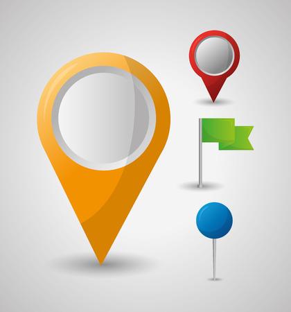 gps navigation application yellow location flag pin maps vector illustration