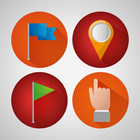 gps navigation application stickers hand pointed blue green pin maps vector illustration