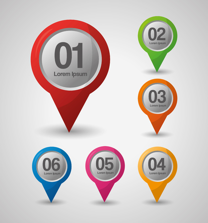gps navigation location numbers pin maps colored directions vector illustration