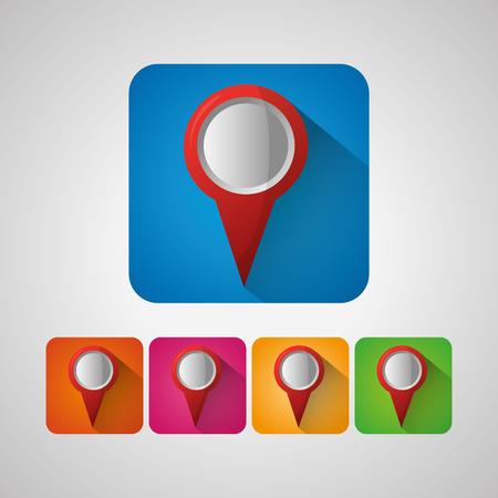 gps navigation application colorful stickers location destination vector illustration