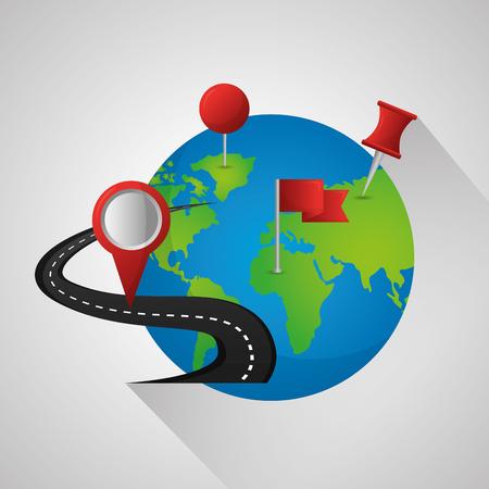 GPS-Navigationsanwendung Weltkarte Standort Beschreibung Ziel Straße Vektor-Illustration