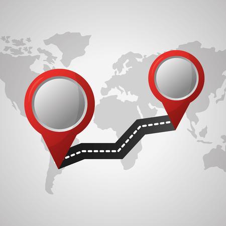 GPS-Navigationsanwendung zwei Standorte Ankunftspunkt weiße Karte Hintergrund Vektor-Illustration