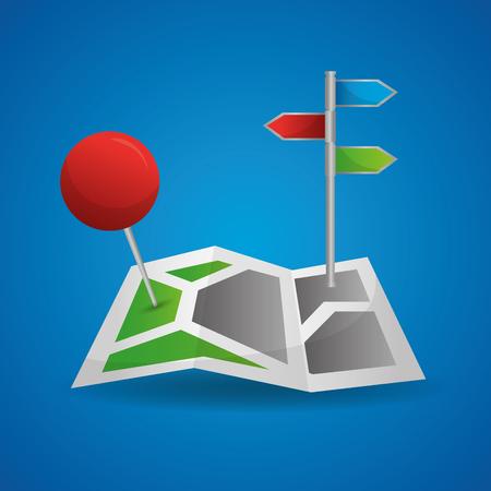 gps navigation application blue background red pin map direction vector illustration 写真素材 - 100994286