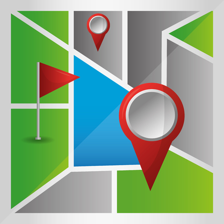 gps navigation application many locations map destination arrival vector illustration