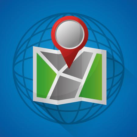 gps navigation application world with map red location ubication vector illustration Ilustração
