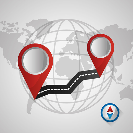 gps navigation application coordinates world with road two red locations vector illustration