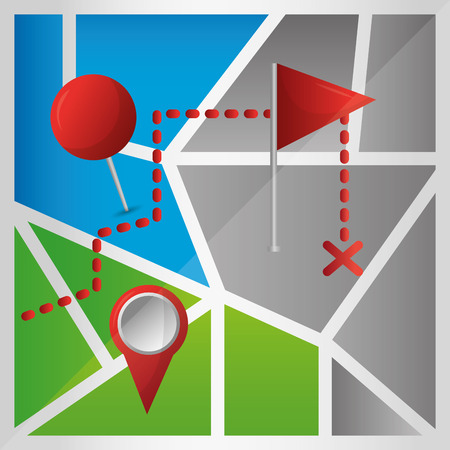 gps navigation application arrival point signaling location colorful map vector illustration